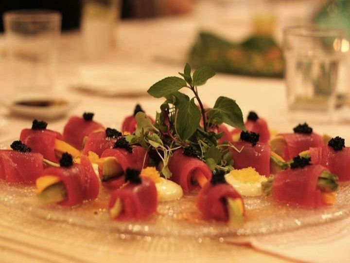M sushi private catering bluefin tuna tapas wrap with mango and truffle, Japanese tapas for people...
