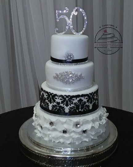 4-tier black and white cake
