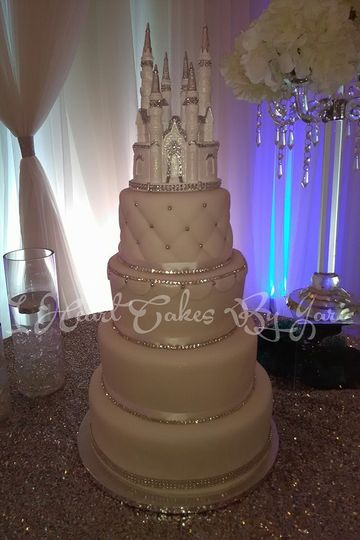 4-tier castle wedding cake