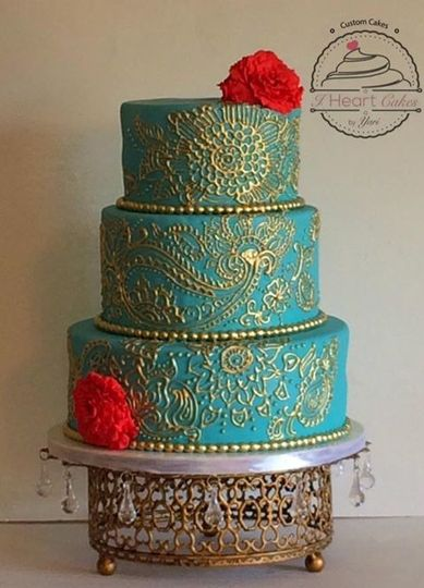 3-tier teal and gold cake