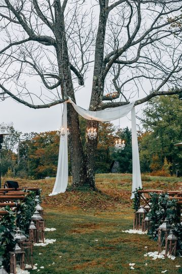 Crystal Chandeliers in Tree for ceremony