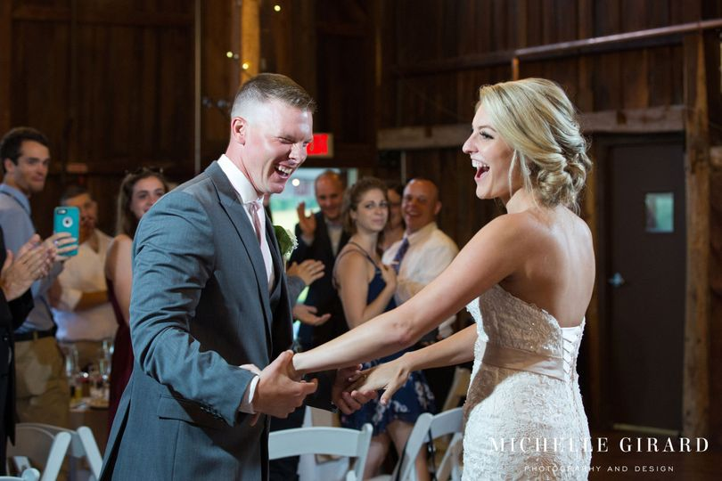 Laughter and smiles for happily wed couple