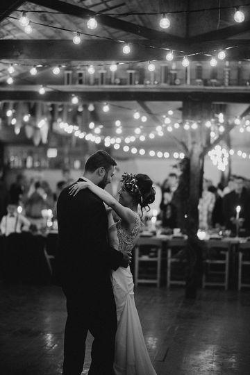 First dance beneath fairy lights