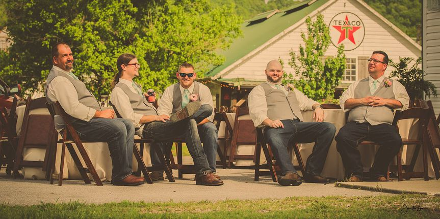 The groomsmen hanging out on a hot summer day at Samory Plantation , Eagleville, Tenn.