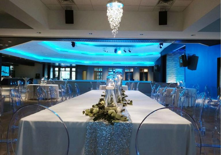 Blue lighting in the reception hall