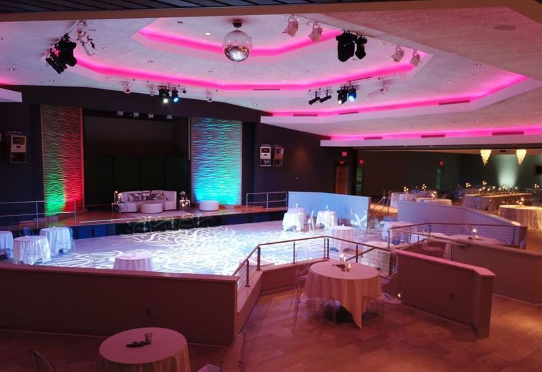 Pink lighting in the reception hall