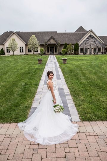 Bride by the pathway