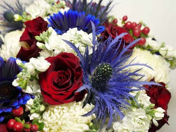 Blue, red and white flowers