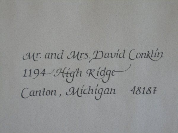 Just send us your guest list and we will do beautiful hand calligraphy on both your outer envelope...