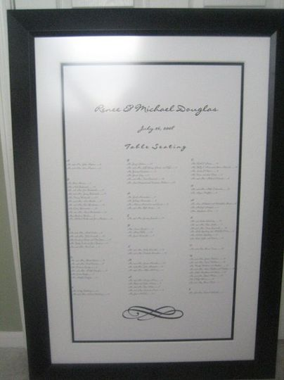 We can match your fonts and do a special monogram to showcase the table assignments for your wedding...