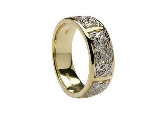 Stunning - 14K Celtic Knot Diamond Wedding Ring. Simply beautiful two tone 14K yellow and white...