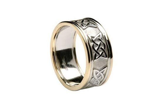 Celtic Lovers Knot Wedding Band with Trim.  Handmade in Ireland this beautiful ring is 9.1 mm for...