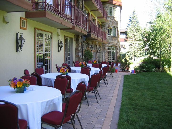 Our back patio can be a perfect setting for a rehearsal dinner, brunch, or small reception of up to...