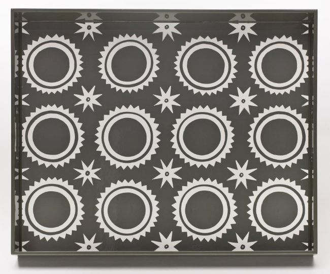 Circle & Stars Pattern in Charcoal/Cream