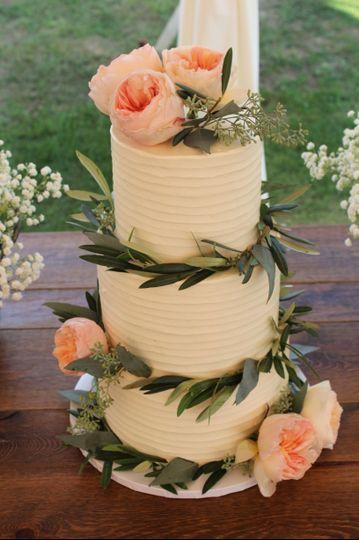 Rustic Buttercream with Olive Branches and Roses