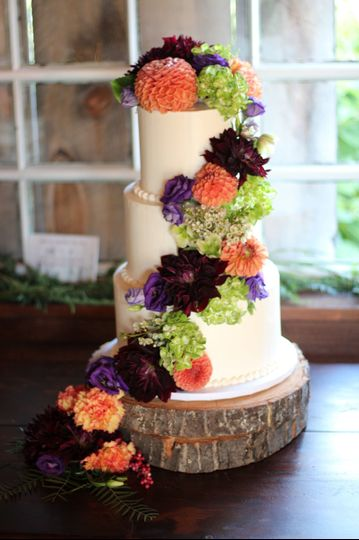 Smooth Buttercream with Cascading Autumn Dahlia