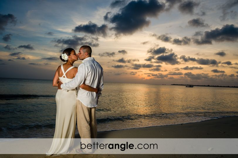 Sunset beach wedding at Seven Mile Beach, Grand Cayman