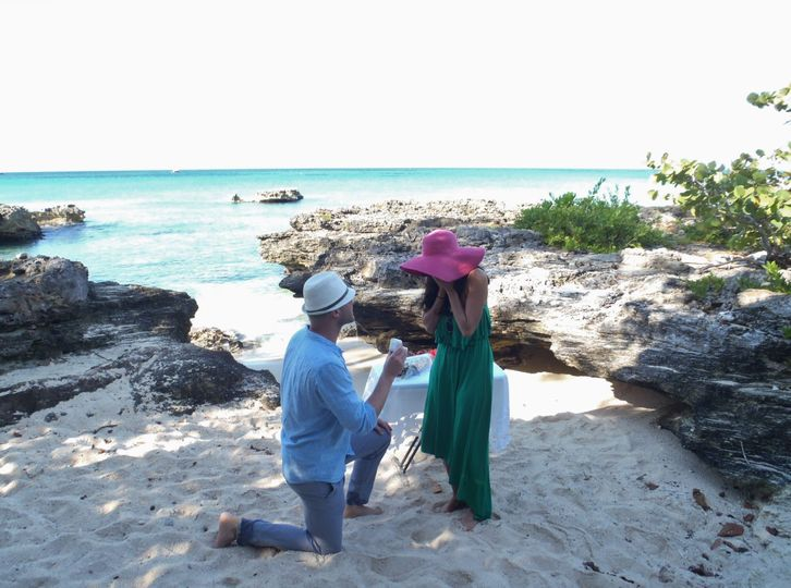 She said yes!  We helped organise this proposal of marriage at My Secret Cove, Grand Cayman