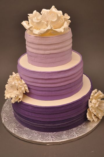 White to violet ombre wedding cake