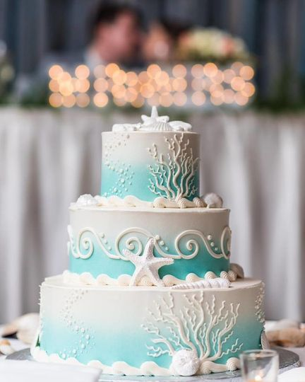 Under the sea themed wedding cake with blue ombre