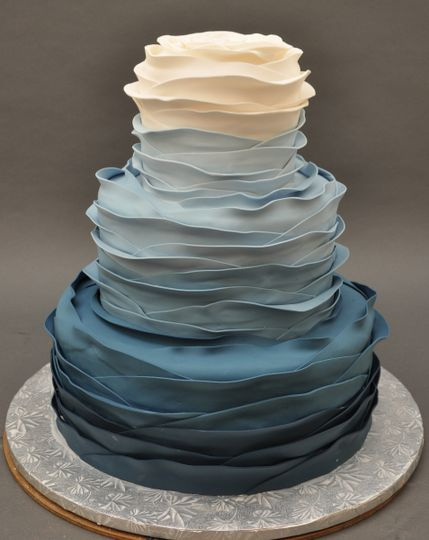 White to blue ombre wedding cake