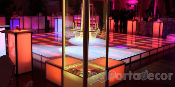 LED Illuminated Dance Floor, made by PortaDecor. Manufacturers of fine event decor and lounge...