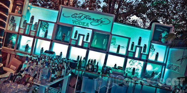 LED Illuminated Custom bar, made by PortaDecor. Manufacturers of fine event decor and lounge...