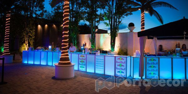 LED Illuminated endless bar, made by PortaDecor. Manufacturers of fine event decor and lounge...