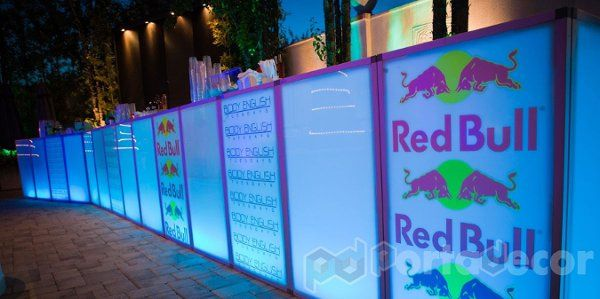 LED Illuminated custom branded bar, made by PortaDecor. Manufacturers of fine event decor and lounge...