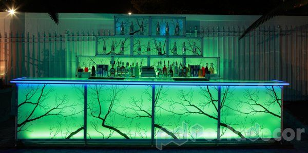 """LED Illuminated custom graphic bar, made by PortaDecor for the nightclub """"Glo"""". Manufacturers of..."""