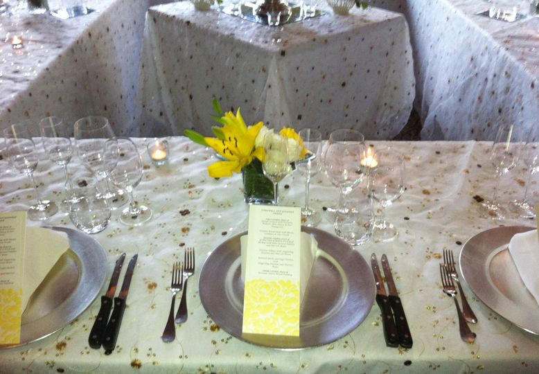 House chargers and custom designed menus add the perfect touch for your next event.