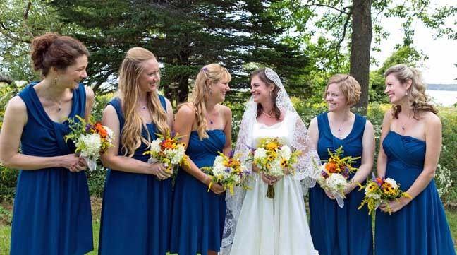 Bridal party flowers from Dan's Flower Farm, Sedgwick Maine