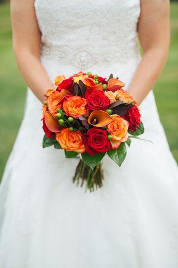 Red and orange arrangement