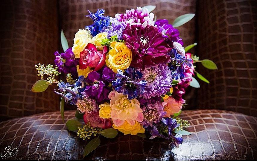 Purple and yellow arrangement