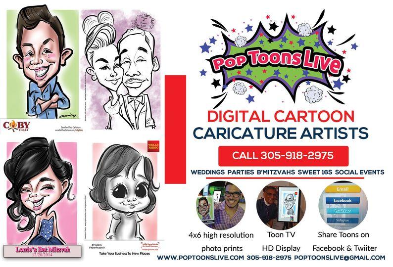 pop toons live  cartoon caricature artists