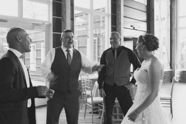 Mc Carlos and DJ Nicky Sibilia meeting with the Bride and Groom before the grand entrances. Keeping...