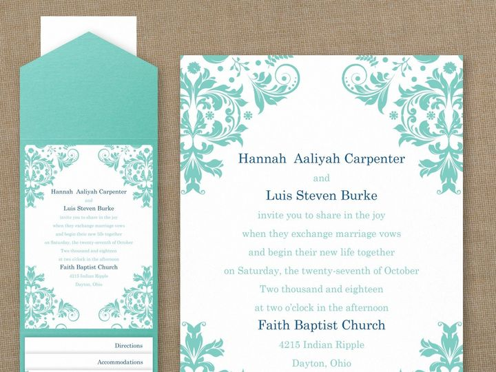 Tmx 1456756888635 Damask Aqua Pocket Manahawkin wedding invitation