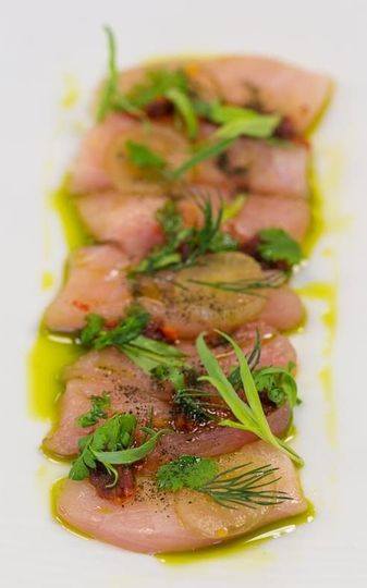 Cured Hamachi with dill, coriander oil and blueberries