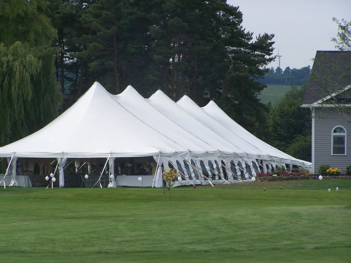 Exterior of reception tent