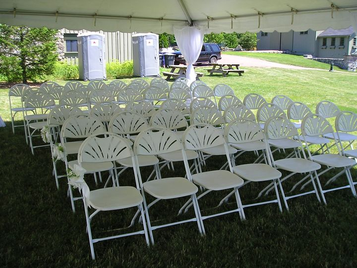 Covered outdoor wedding setup