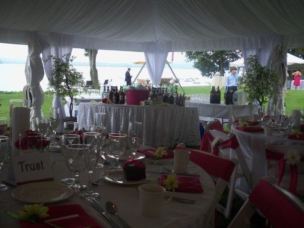 Reception tables with pink decor