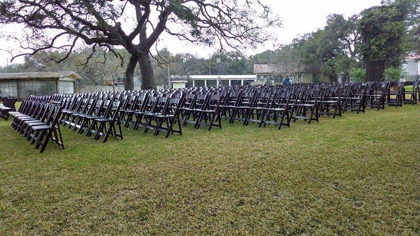 Wood folding chairs set up