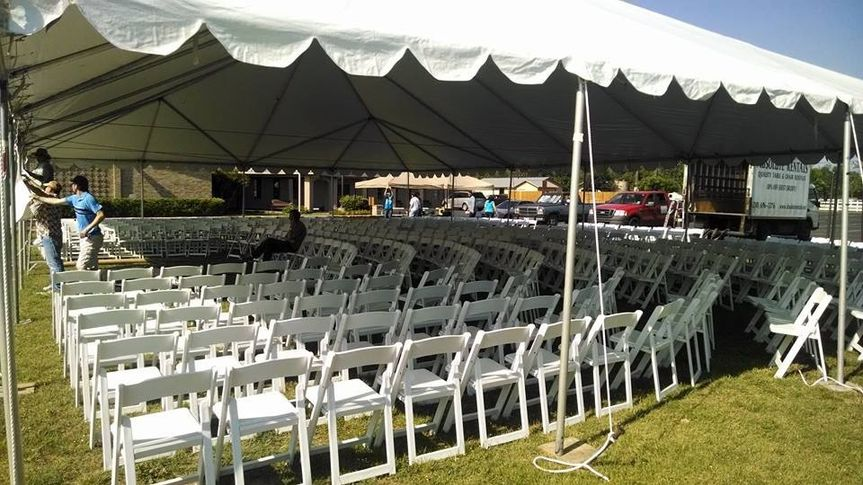 Wedding chairs under tenting