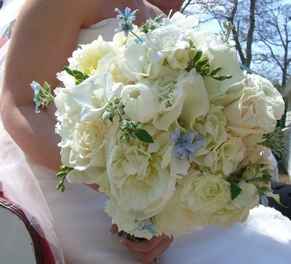 Fragrant and delicious bouquet of  White French Tulips, Breathtaking  White Peonies, Peeking Blue...