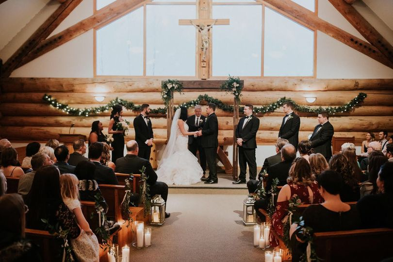 Exchanging vows in front of loved ones