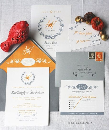 Falling Leaves Wedding Invitation Suite