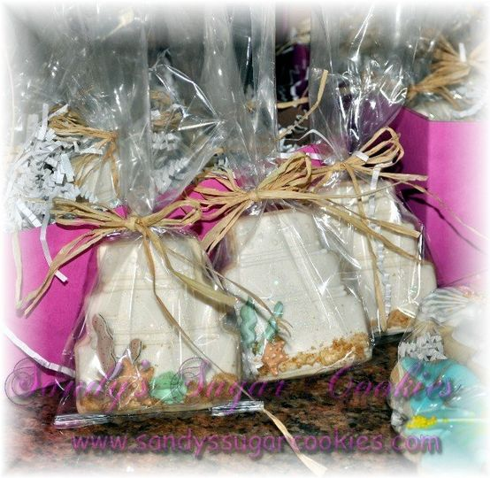 Beach theme wedding cake sugar cookie favors, individually bagged and tied with matching theme...