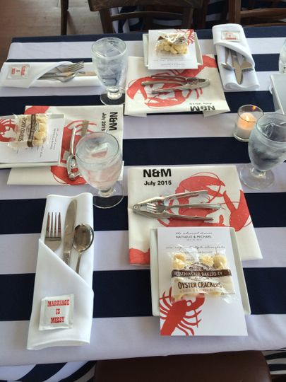 Seafood table set up