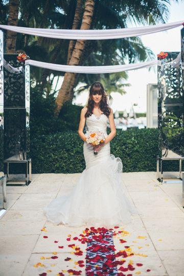 Bride walking on the aisle
