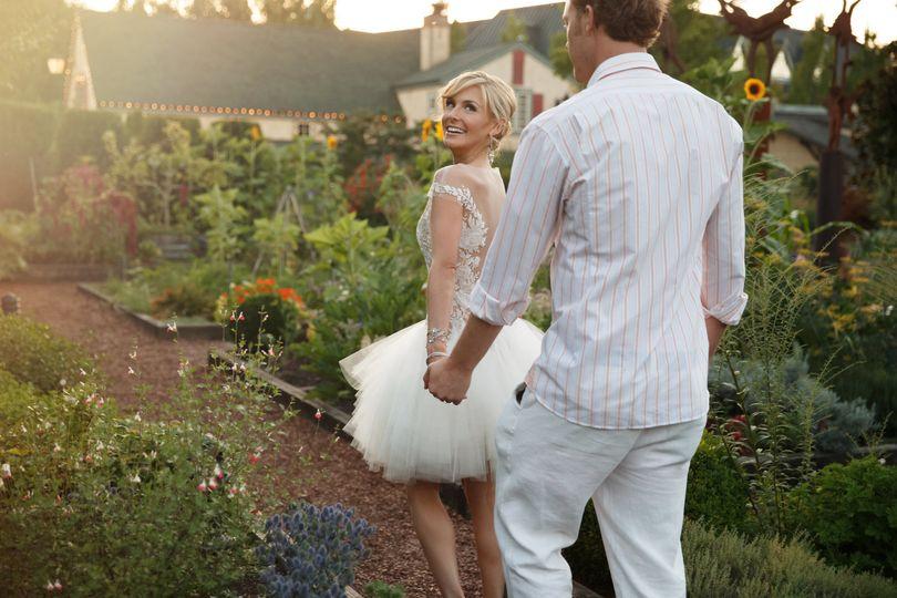 Happy couple in gardens